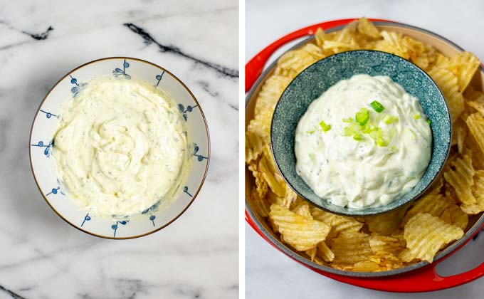 The finished Potato Chip Dip in a white bowl, and served with potato chips in a plate.