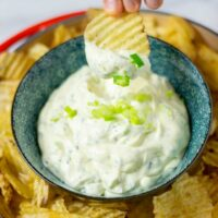 A potato chip is dipped into the dip.