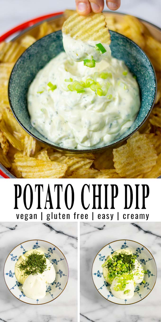 Collage of two pictures of the Potato Chip Dip with recipe title text.