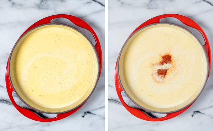 Side by side view of a large casserole dish, in which vegan cheeses are melted in a bit of plant based milk.