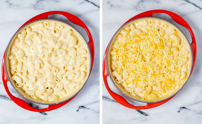 Southern Mac and Cheese in a casserole dish is sprinkled with more vegan cheese for baking.