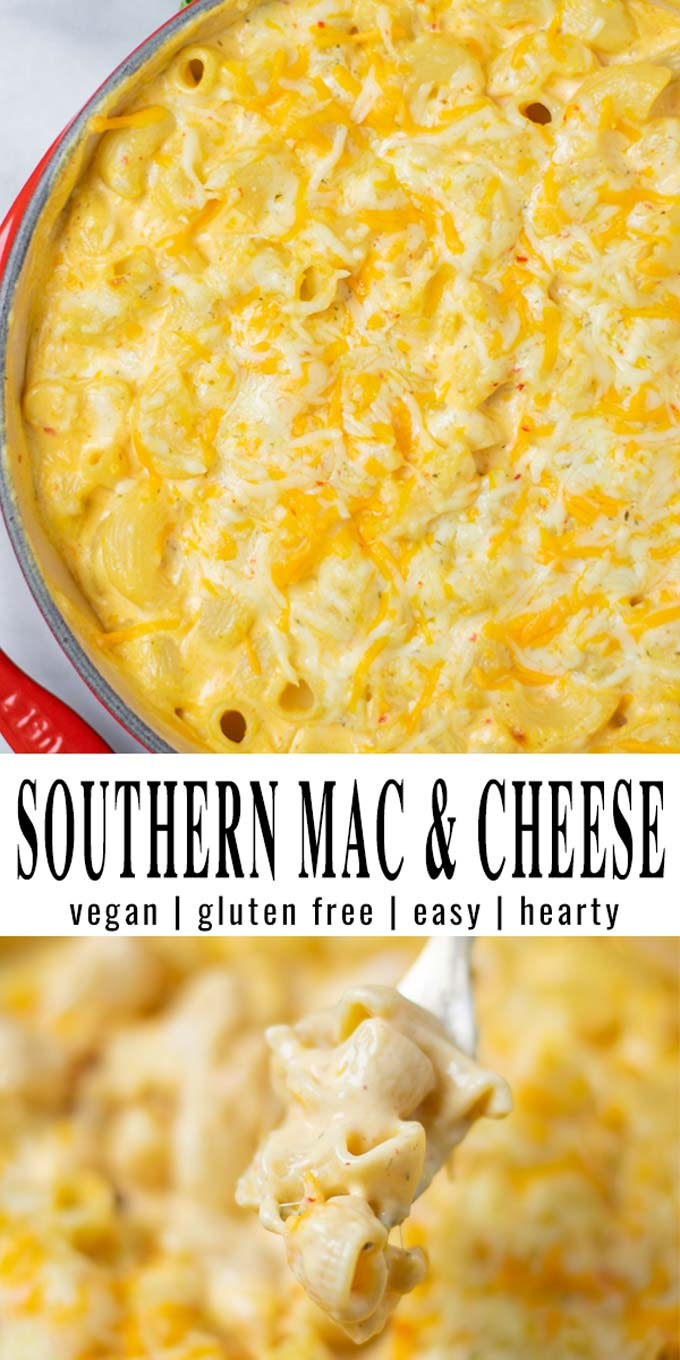 Collage of two pictures of the Southern Mac and Cheese with recipe title text.