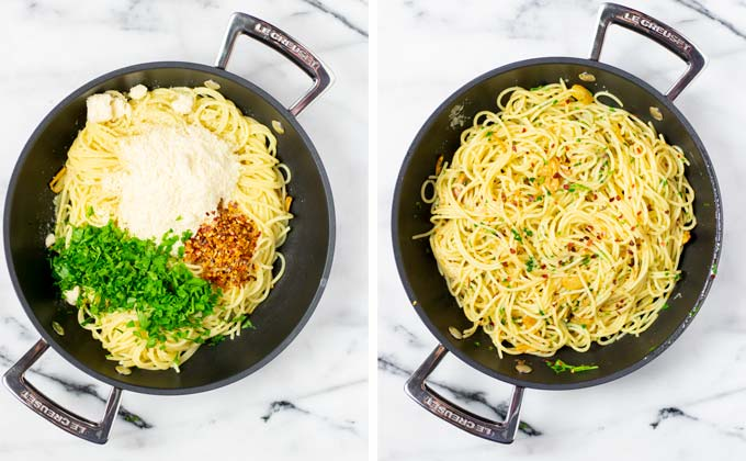 Side by side view with adding Parmesan, chili flakes, fresh herbs given to the pasta, before and after mixing.