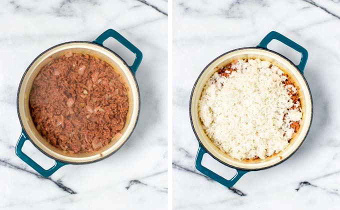 Showing how the fried vegan ground beef is mixed with pre-cooked rice in a pot.