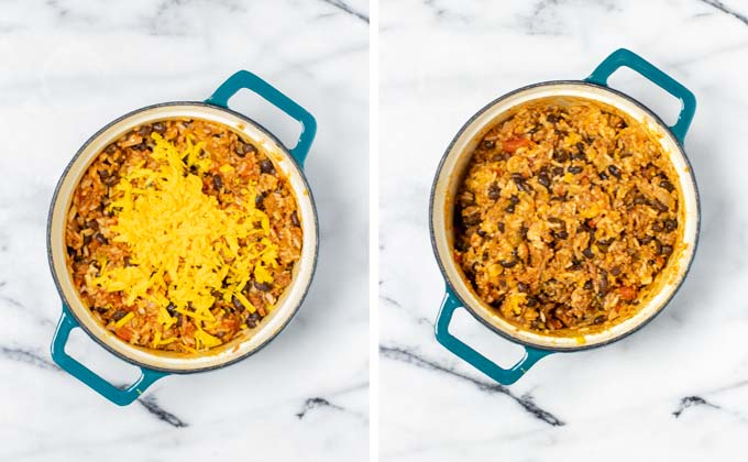 Showing the final step: combining shredded vegan cheddar with the Taco Rice.