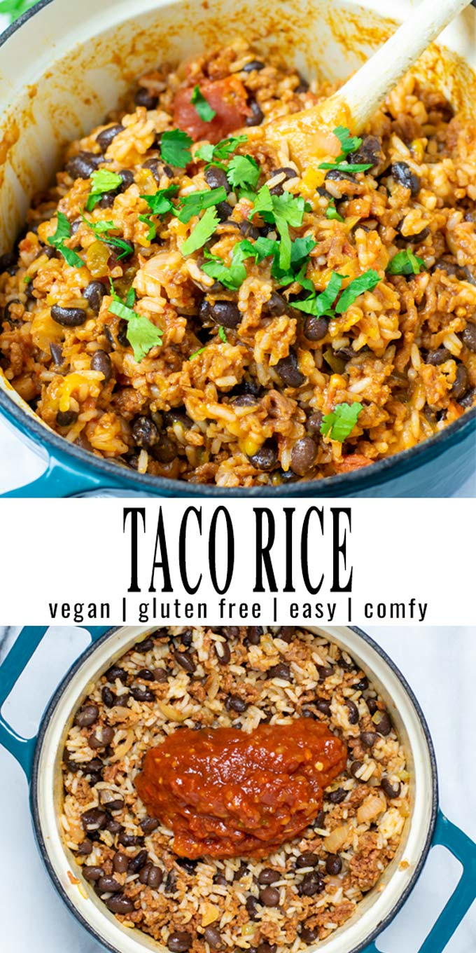 Collage of two pictures of the Taco Rice with recipe title text.