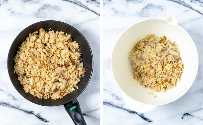 Showing side-by-side how shredded vegan chicken and onions are first prefried and then transferred to a large mixing bowl.