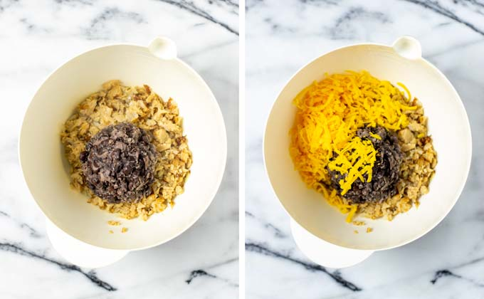 Mashed black beans and shredded vegan cheddar are added to a large mixing bowl.