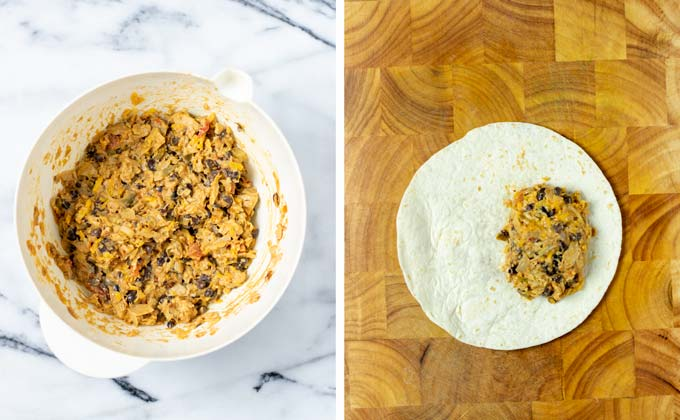 Side by side showing of how the filling for the Chimichangas is mixed and then given on a tortilla wrap.