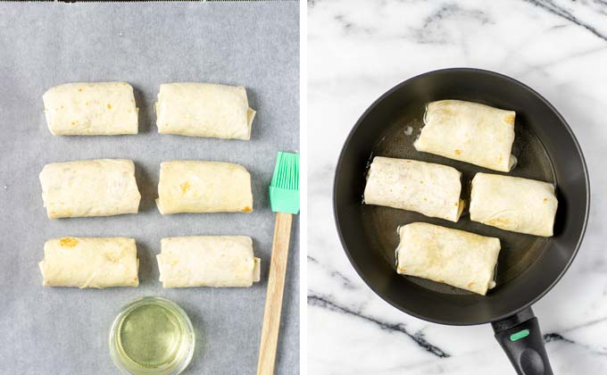 Side by side view of rolled Chimichangas on a baking dish and in a frying pan before baking/frying.