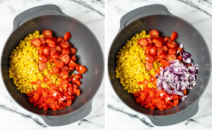 Corn, red onions, cherry tomatoes and bell pepper are mixed in a large bowl.