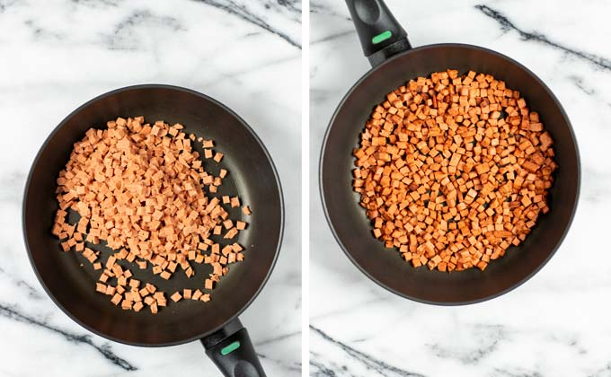 Vegan bacon bits are fried in a small frying pan.