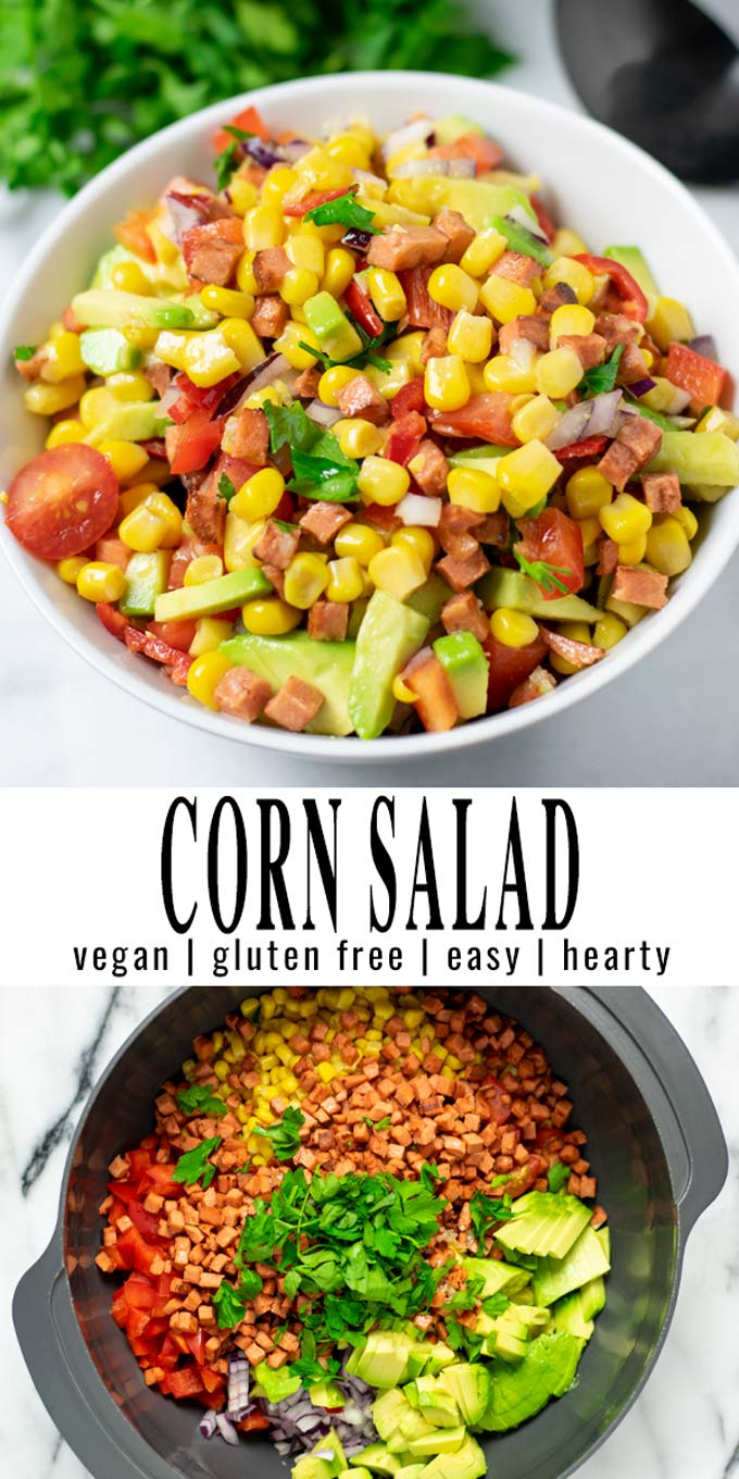 Collage of two pictures of the Corn Salad with recipe title text.