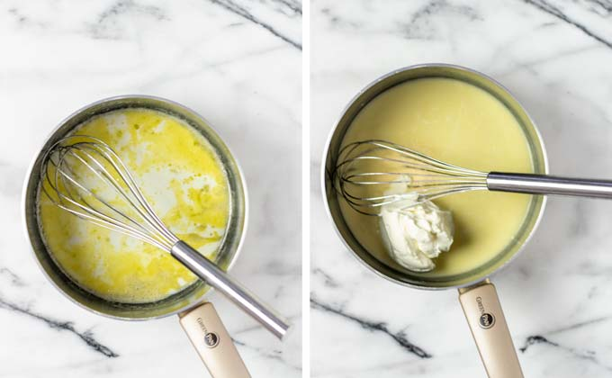 A white sauce is prepared in a small saucepan, using vegan butter, plant milk, and cream cheese.