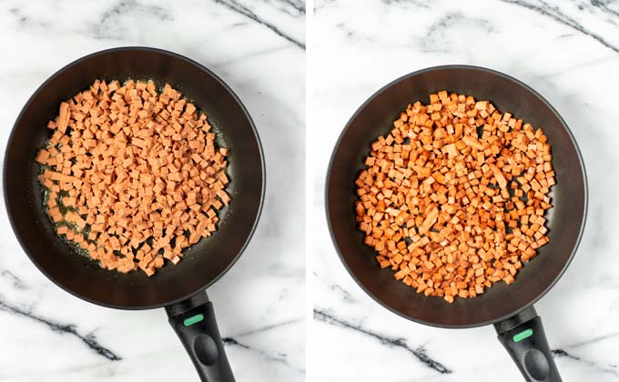 Before and after view of frying vegan bacon bits in a frying pan.