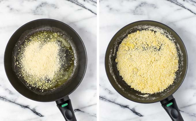 Breadcrumbs and vegan parmesan are mixed with vegan butter.