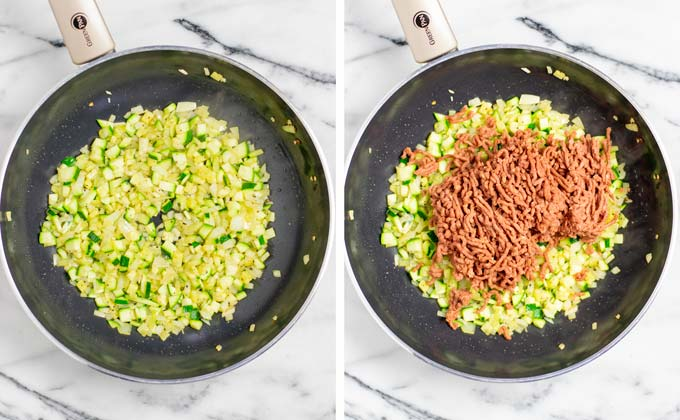 Onion and zucchini dices are fried in a frying pan.