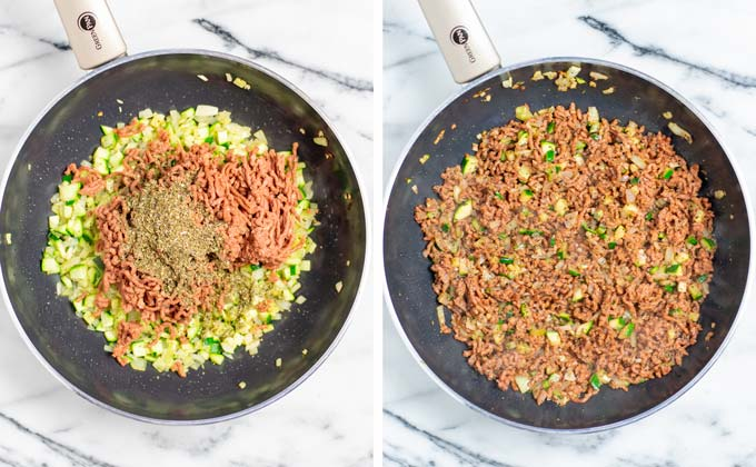 Showing the frying vegan ground beef with Italian herbs and spices.