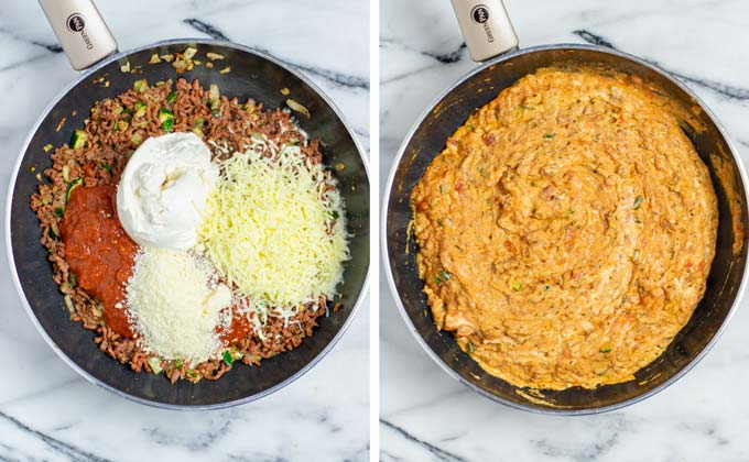 Showing how vegan cheeses and sour cream is added to the frying pan and mixed with the ground beef.