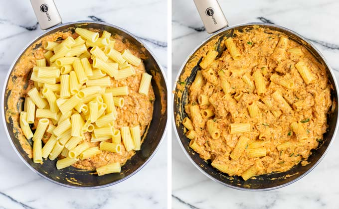 Pre-cooked rigatoni are mixed with the sauce.