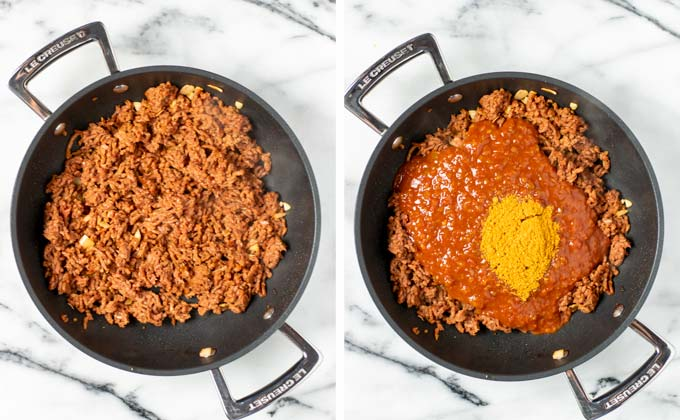 Vegan ground beef is fried in a sauce pan.