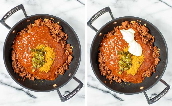 Salsa, taco spices, vegan sour cream, and jalapenos are added to the vegan ground beef.