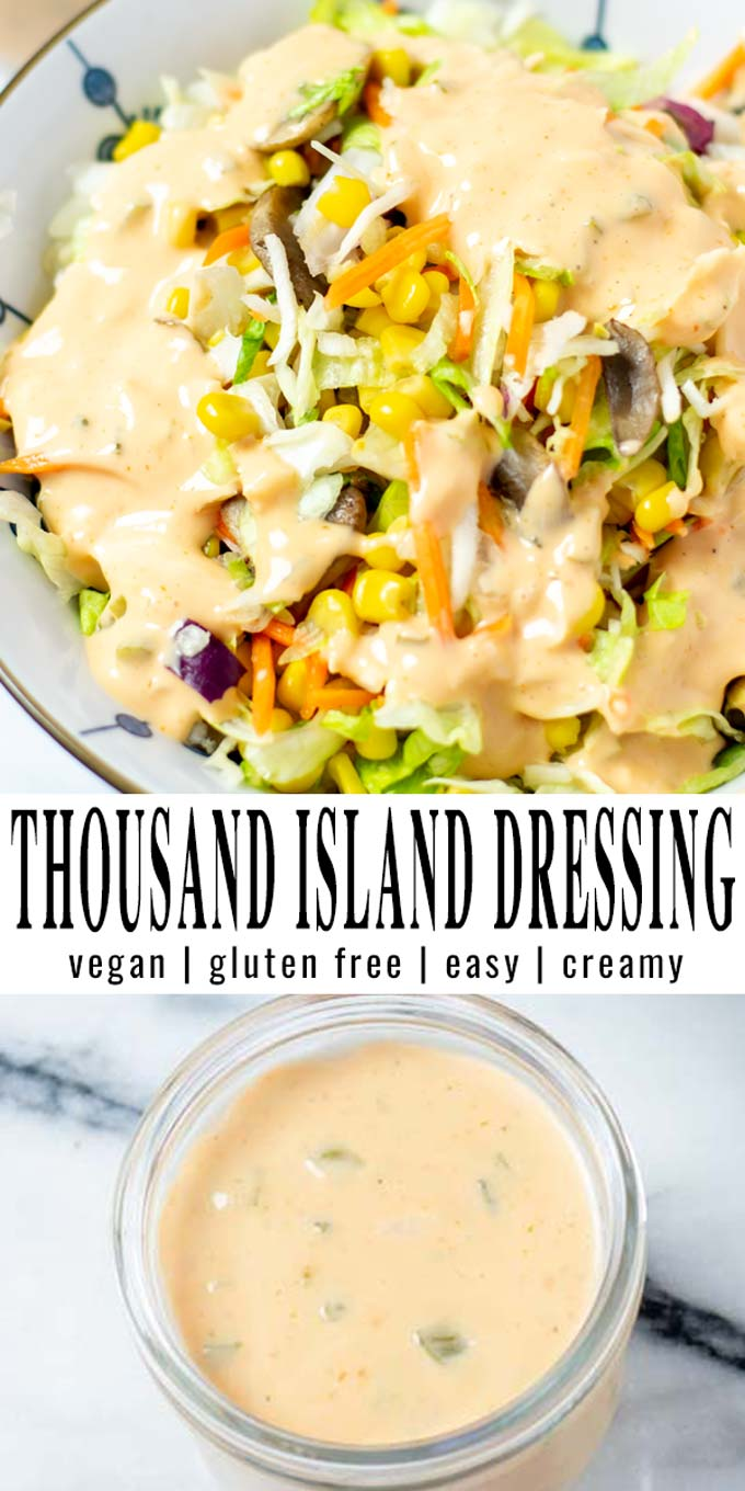 Collage of two pictures of the Thousand Island Dressing with recipe title text.
