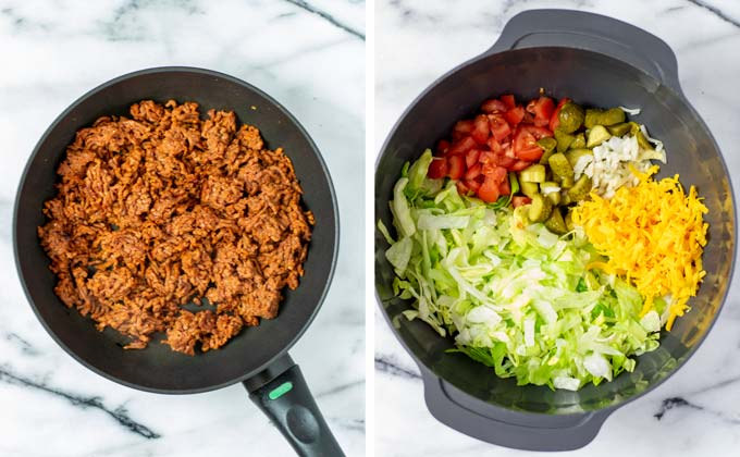 Vegan ground beef is prefried. In a large bowl, cold salad ingredients are mixed.