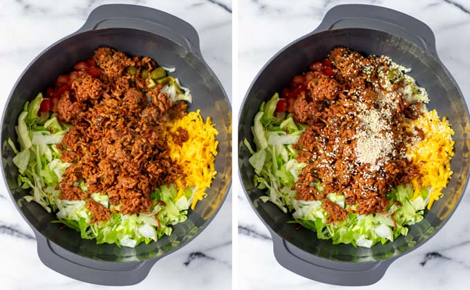Side by side view of how vegan ground beef is added to a large salad bowl.