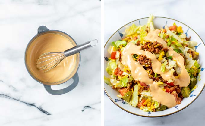 The Big Mac Salad in a serving bowl is decorated with the Big Mac sauce dressing.