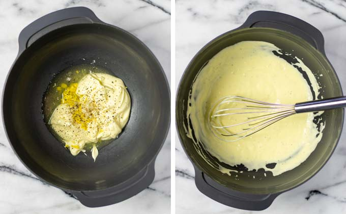 Side by side view of making the dressing with vegan mayo and mustard.