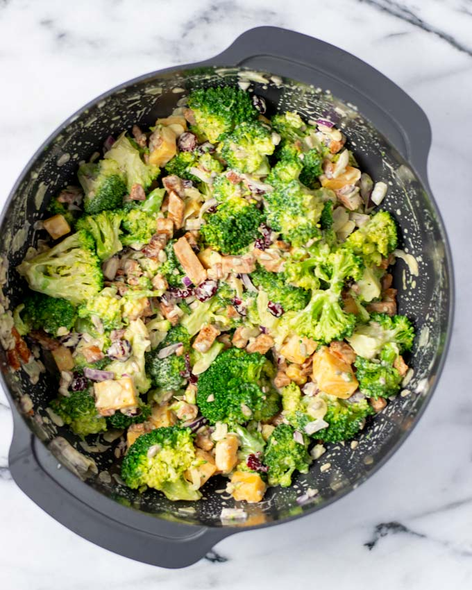 View of the mixed Broccoli Salad in a large bowl.