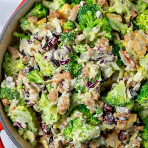 Top view of the served Broccoli Salad.