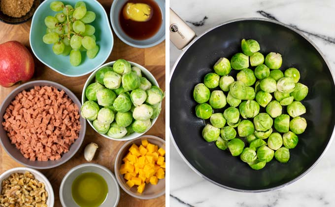 Ingredients for the Brussels Sprouts Salad on a wooded board.