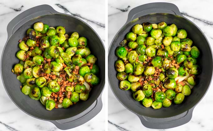 Side by side view of the fried Brussels Sprout and bacon before and after giving the dressing over it.