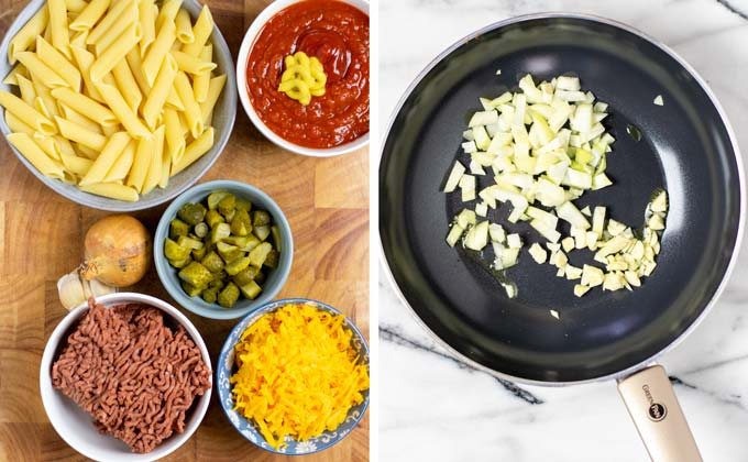 Ingredients needed to make the Cheeseburger Pasta are assembled on a wooden board.