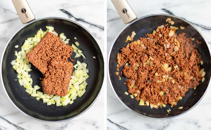 Side by side view showing a pan with vegan ground beef before and after frying.