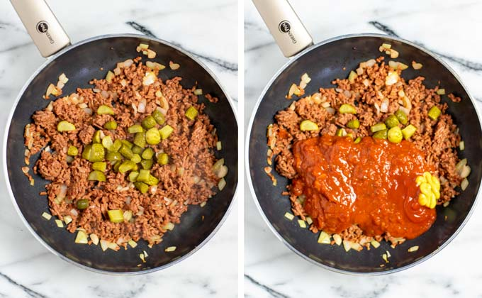 Pickle cubes and salsa tomato sauce are added to the pan with fried vegan ground beef.