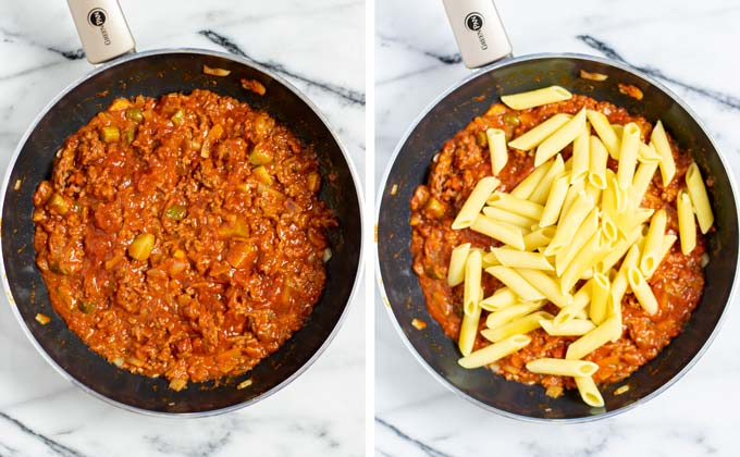 Precooked pasta is added to the pan with the meat-sauce mixture.