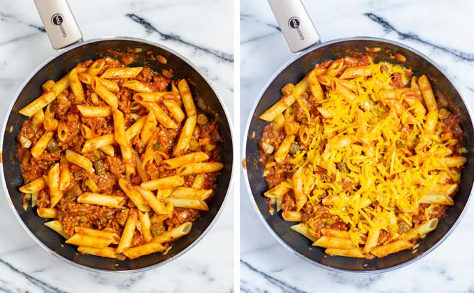 Pasta is mixed with the sauce and sprinkled with shredded vegan cheddar.
