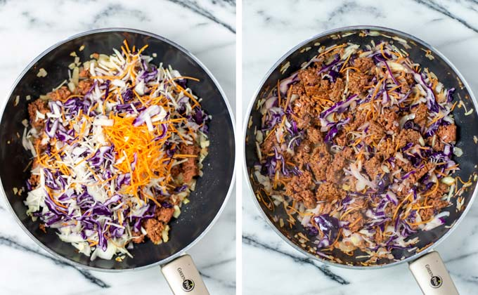 Adding coleslaw mix to the frying pan.