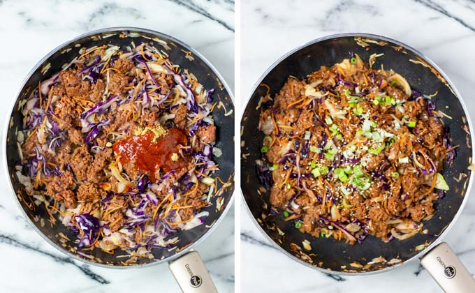Spices are added to the vegan ground beef and coleslaw mixture.