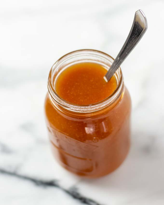 The Hawaiian Sauce in a glass jar.