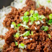 Closeup of the Korean Rice in a pan.
