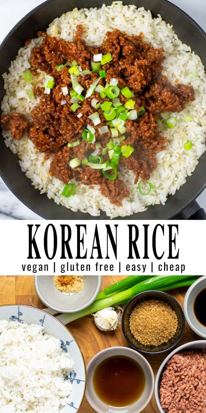 Collage of two pictures of the Korean Rice with recipe title text.