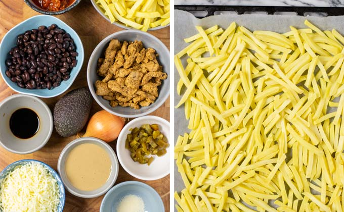 Ingredients for the Loaded Fries on a wooden board.