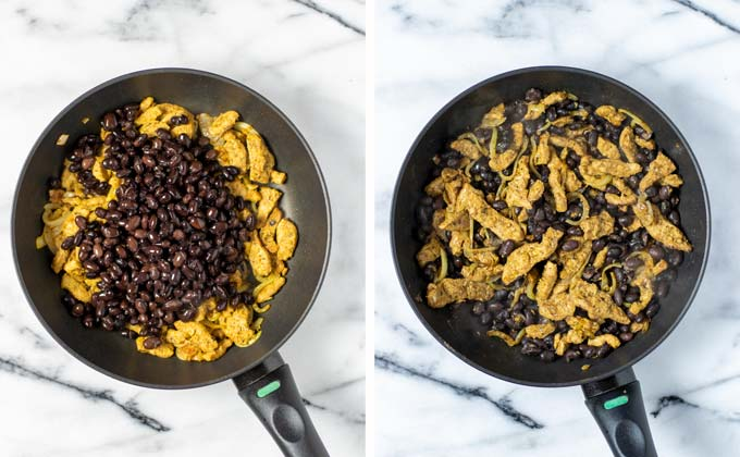Side by side view of adding black beans to the pan with the gyros and onion.
