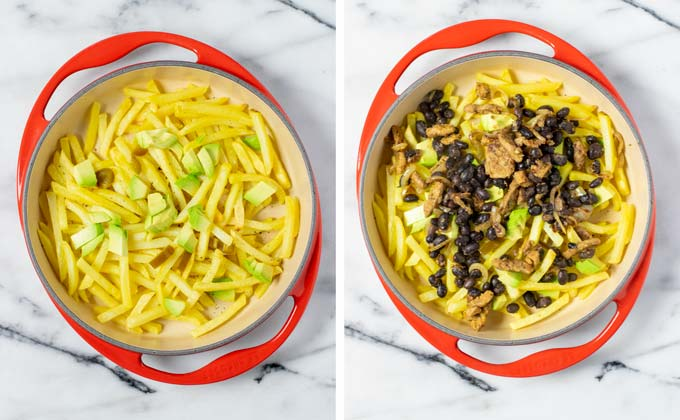 Avocado cubes and the bean-gyros mixture are added to the fries.