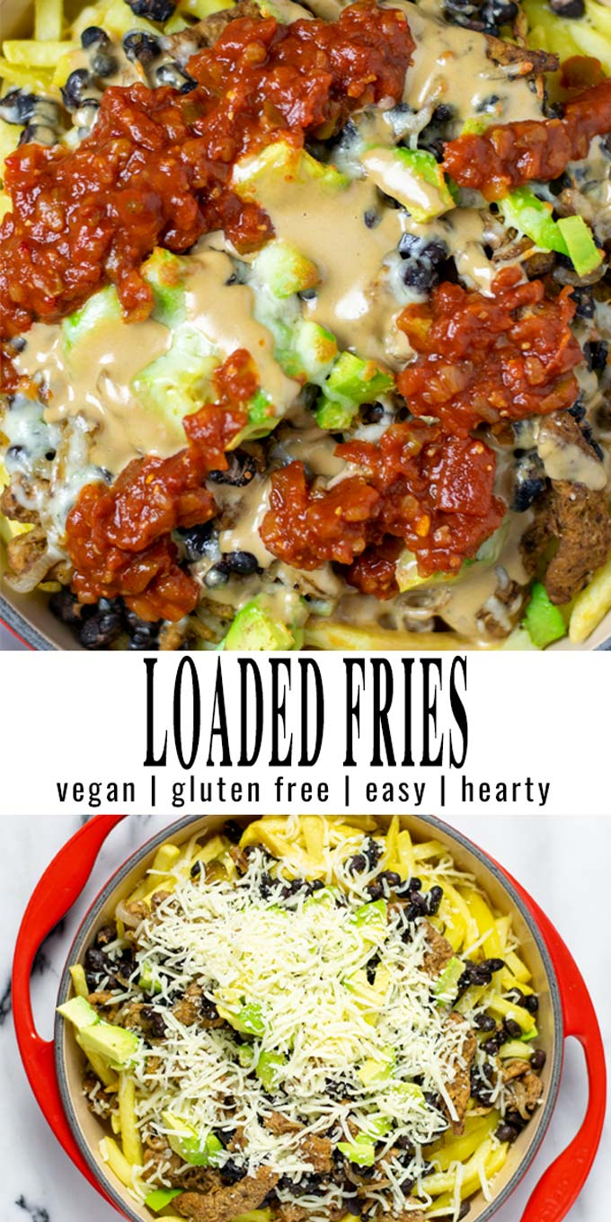 Collage of two pictures of the Loaded Fries with recipe title text.