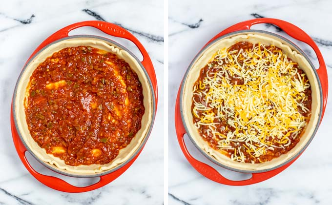 Pizza dough is put into a casserole, spread with salsa and a bit of vegan cheese.